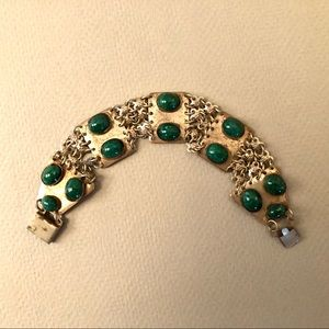 Vintage silver tone and green glass bracelet